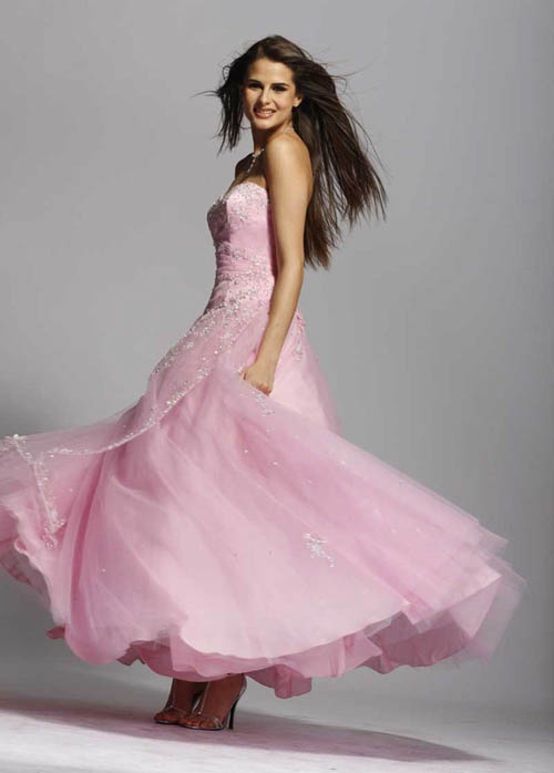 Cheerfully with Pink prom Dress2