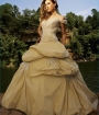 Gold Gown with Pickup Skirt from Alure bridal