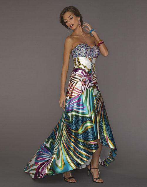 Tiffany Prints Prom Dress With Multi Color Jewels1