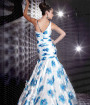 Blue white Floor Length Chiffon Prom Dress from Studio 17