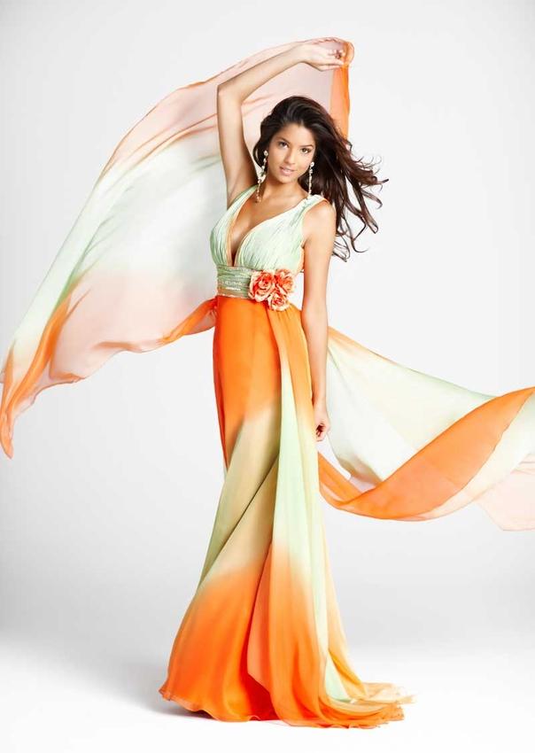 Green Orange Color On Blush Prom Dress1