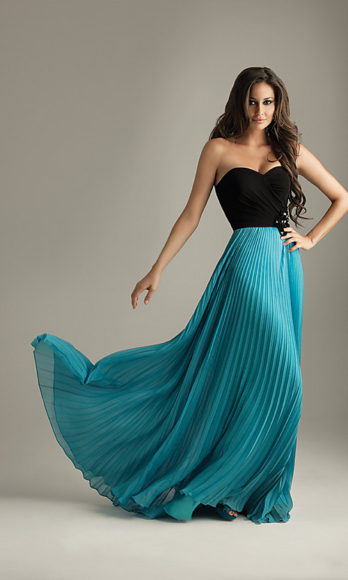 Pleated strapless prom dress from night moves wedding for Night dress for wedding night
