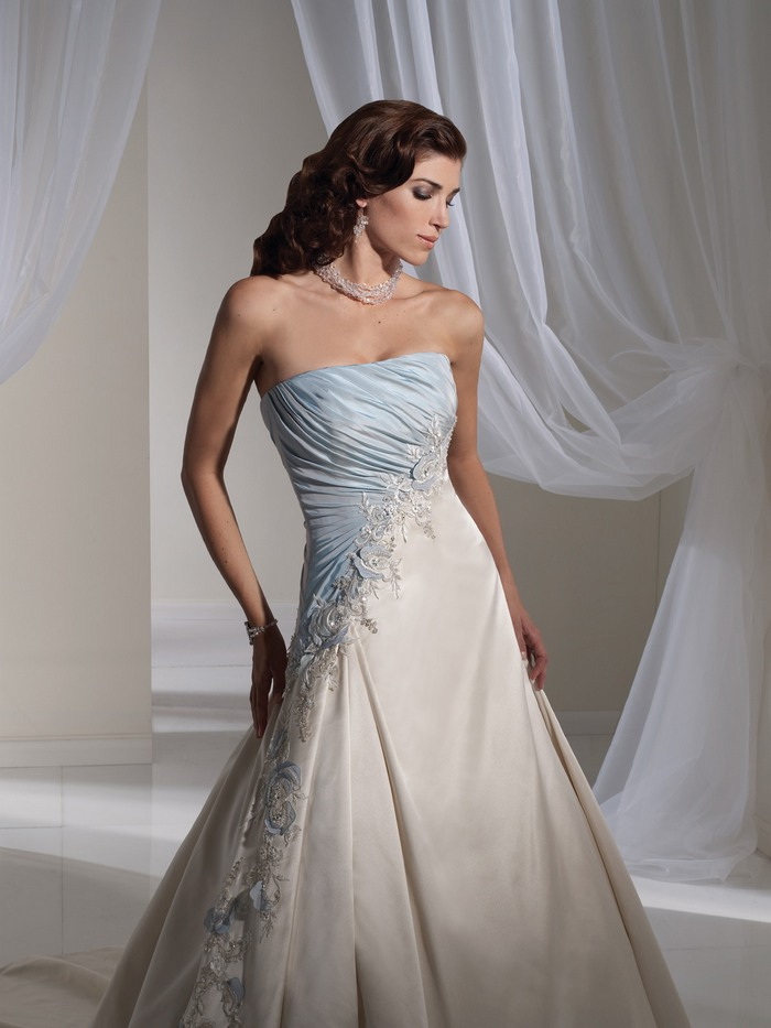 Light blue and white combination wedding dress by sophia for Light blue dress for wedding