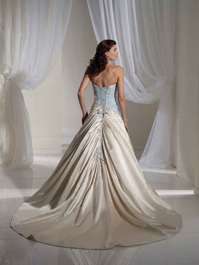 light blue and white combination wedding dress by sophia