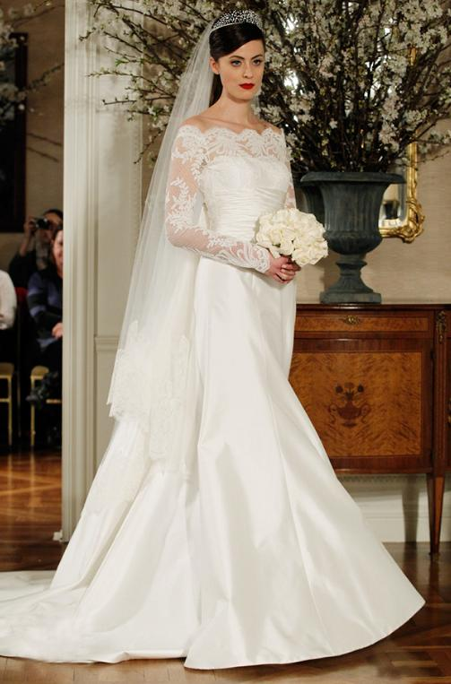 Long Sleeves On Elegant Off shoulder Wedding Dress ...
