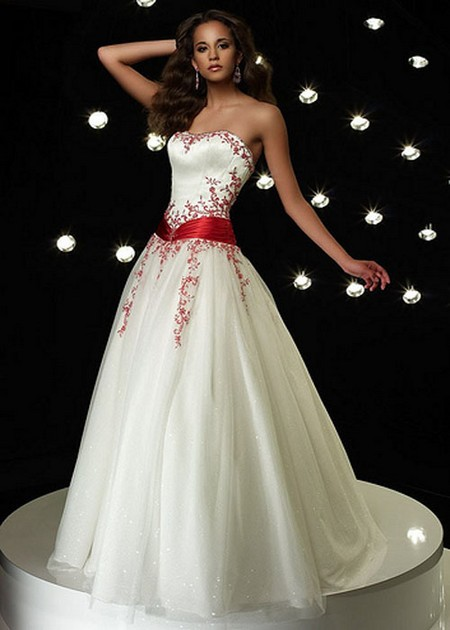 Wedding dresses with red accents wedding inspiration trends for White wedding dress with black accents