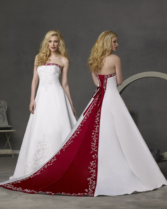 Wedding dresses with red accents wedding inspiration trends for Wedding dress with color accent