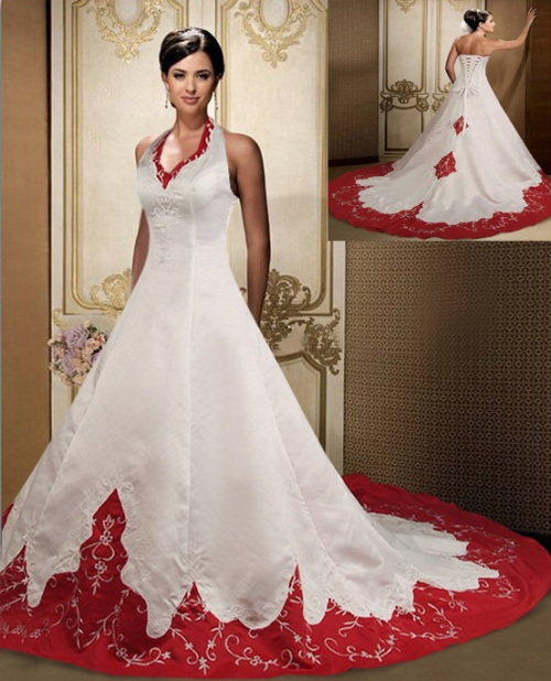 Wedding Dresses With Red Accents