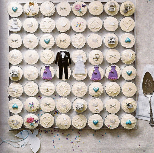 bride and groom design wedding cupcakes