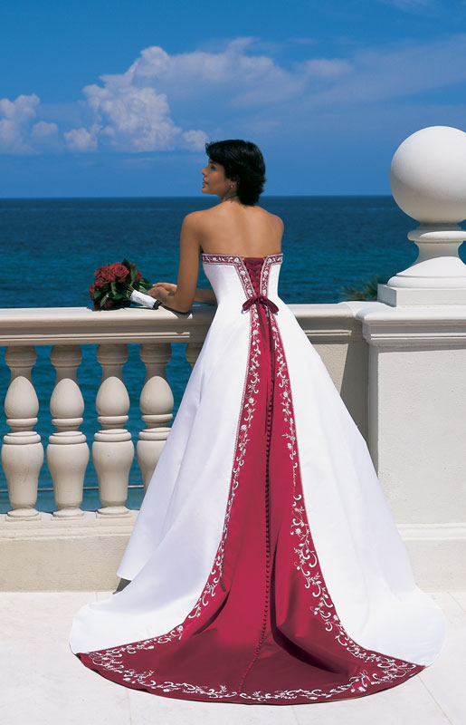 White Wedding Dresses With Red Accents - Mother Of The Bride Dresses