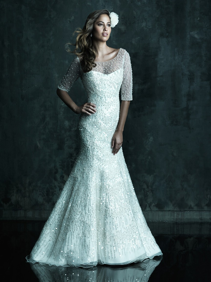 Top 10 2013 wedding dress style illusion neckline for Wedding dress with illusion top