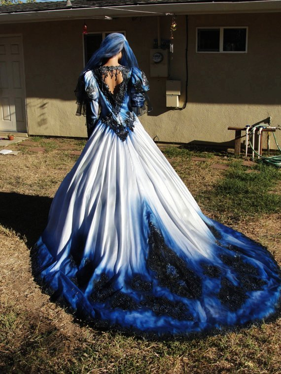 Blue camo wedding dresses good dresses for Blue and black wedding dresses