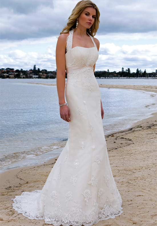 Halter wedding dresses beach
