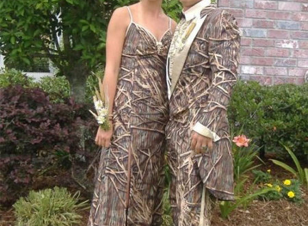 camouflage wedding dresses and tuxedos