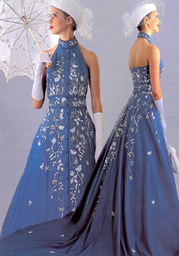 blue jean top wedding dress 2